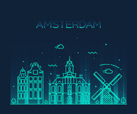 Amsterdam City skyline Trendy vector line art Stock Photos