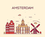 Amsterdam City skyline Trendy vector line art Royalty Free Stock Images