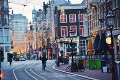 Amsterdam city street with holiday lights Royalty Free Stock Photography
