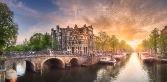 Amsterdam city sunset royalty free stock images