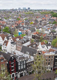 Amsterdam City. View from above of Amsterdam's unique houses and buildings Stock Images