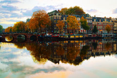 Amsterdam city view with canals Stock Photos