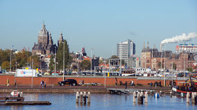 Amsterdam city view from Oosterdok Quay Royalty Free Stock Photo