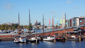 Amsterdam city view from Oosterdok Quay Stock Photography