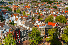 Amsterdam city view from Westerkerk, Holland, Netherlands. Roofs and facades of Amsterdam. City view from the bell tower of the church Westerkerk, Holland Stock Image