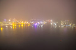Amsterdam cityscape and beautiful mystic view from top at foggy night Royalty Free Stock Image