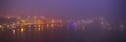 Amsterdam cityscape and beautiful mystic view from top at foggy night Stock Photos