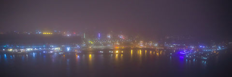 Amsterdam cityscape and beautiful mystic view from top at foggy night. Royalty Free Stock Photos