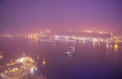 Amsterdam cityscape and beautiful mystic view from top at foggy night Royalty Free Stock Images