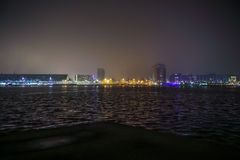 Amsterdam cityscape and beautiful mystic view from top at foggy night. Stock Photography