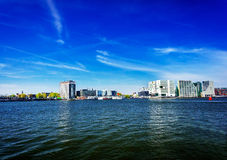 Amsterdam cityscape and beautiful sea. Netherlands. Royalty Free Stock Images
