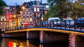 Amsterdam cityscape at dusk Royalty Free Stock Photos