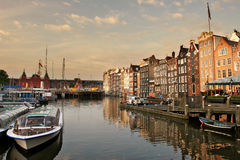 Amsterdam cityscape at evening. stock photos