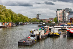 Amsterdam Cityscape from Nieuwevaart Canal Royalty Free Stock Photography