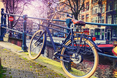 Amsterdam cityscape with old bicycle Stock Photography