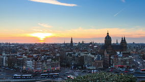 Amsterdam cityscape timelapse stock video footage