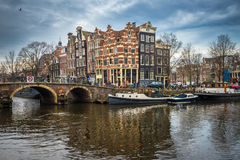 Amsterdam cityscape, traditional dutch houses and canals Royalty Free Stock Images