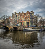 Amsterdam cityscape, traditional dutch houses and canals Royalty Free Stock Image
