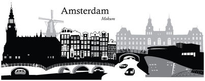 Amsterdam Cityscape. Vector illustration of the cityscape skyline of Amsterdam, Netherlands Royalty Free Stock Image