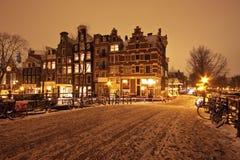 amsterdam cityscenic holandii noc Obrazy Stock