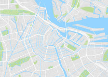 Amsterdam a coloré la carte de vecteur Images libres de droits