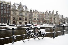Amsterdam covered with snow in Netherlands Stock Images