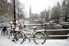 Amsterdam covered with snow with the Westerkerk in Netherlands. Amsterdam covered with snow with the Westerkerk in winter in the Netherlands Royalty Free Stock Photo