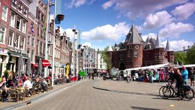 AMSTERDAM :Crowded street in the central area of Amsterdam.ULTRA HD 4k,real time stock footage