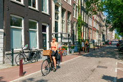 Amsterdam. Cyclists on city streets. Stock Image