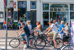Amsterdam. Cyclists on city streets. Stock Photo