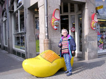 Amsterdam Dam Square wooden shoes 2003 Royalty Free Stock Photo