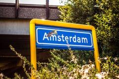 Amsterdam damaged road sign. Close-up photo Royalty Free Stock Photo