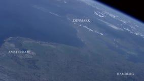 Amsterdam, Danmark och Hamburg som ses från utrymme - några beståndsdelar möblerade vid NASA arkivfilmer