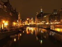 Amsterdam dans la nuit Images libres de droits