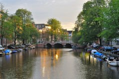 Amsterdam. Dawn on Singel Royalty Free Stock Photography