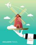 Amsterdam, destination. Amsterdam and Netherlands destination, windmill, travel royalty free illustration