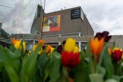 Amsterdam, die Niederlande - 6. April 2018: Blumen außerhalb des Vans lizenzfreies stockbild