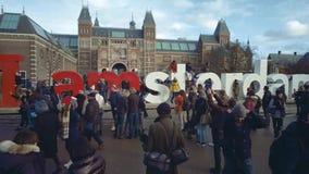 AMSTERDAM, DIE NIEDERLANDE - 26. DEZEMBER 2017 Der Touristen Zeichen nahe I Amsterdam nahe dem Rijksmuseum, der niederländische S Stockbild