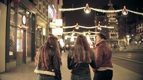 AMSTERDAM, DIE NIEDERLANDE - 25. DEZEMBER 2017 Weg der jungen Leute entlang der Stadthauptstraße verziert für Weihnachten und neu Lizenzfreie Stockfotos