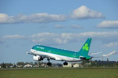 Amsterdam die Niederlande - 3. Mai 2018: EI-DVJ Aer Lingus Airbus Lizenzfreies Stockbild