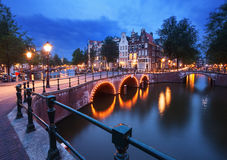 Amsterdam at dusk. Stock Photos