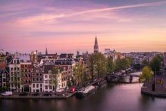 Amsterdam en el amanecer fotos de archivo libres de regalías