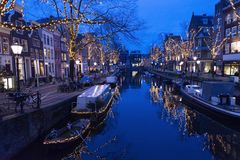 Amsterdam Europe old city centre street canal gracht night. Scene Royalty Free Stock Image