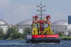 Amsterdam för portmyndigheter segling i port Royaltyfri Foto