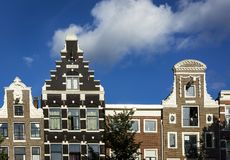 Amsterdam facades. Close view of Amsterdam houses with their typically medieval facades Royalty Free Stock Photo