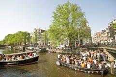 amsterdam fira som är queensday Arkivbilder