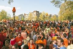 amsterdam fira som är queensday Royaltyfri Foto