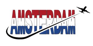 Amsterdam flag text with plane and swoosh illustration Royalty Free Stock Photography