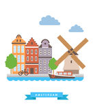 Amsterdam flat background vector Royalty Free Stock Image