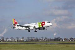 Amsterdam flygplats Schiphol - den TAP Portugal flygbussen A320 landar royaltyfri bild